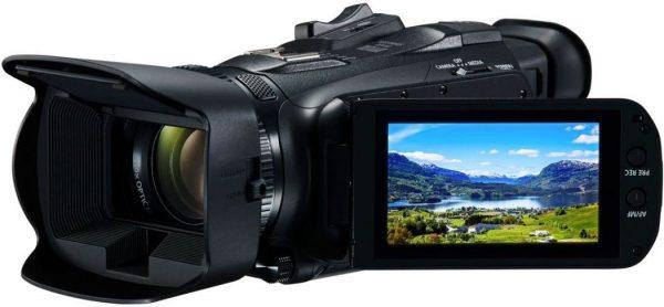 Bild einer Canon Legria hf g50 mit einem Bild auf dem Monitor